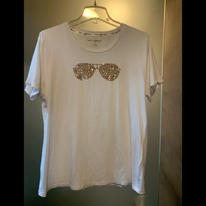 Karl Lagerfeld White Sunglasses Tee